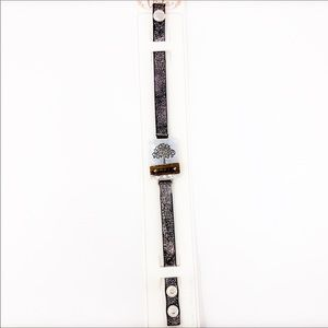 Life Silver Tree gray faux leather snap bracelet